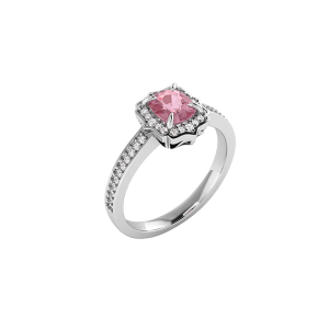 18k white gold ring pink spinel jewelry diamond engagement ring fearless jewellery