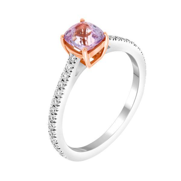 lavender spinel diamond ring