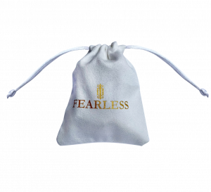 white suede pouch gold logo fearless jewellery