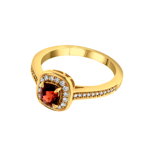 Bague or jaune spinelle Rouge