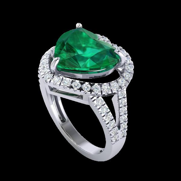 Heart Emerald Ring Gold